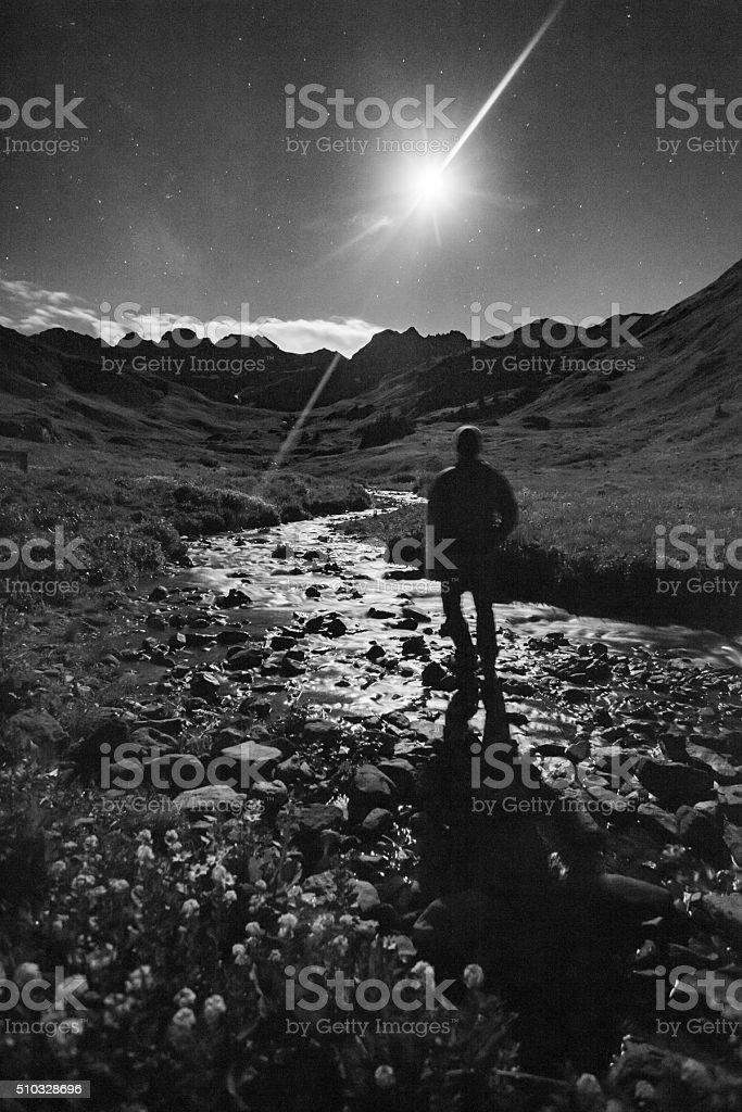man landscape night mountain alone stock photo