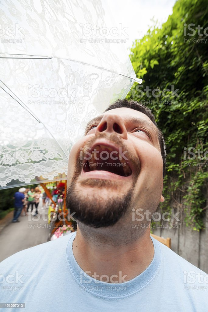 Man laughing insanely stock photo