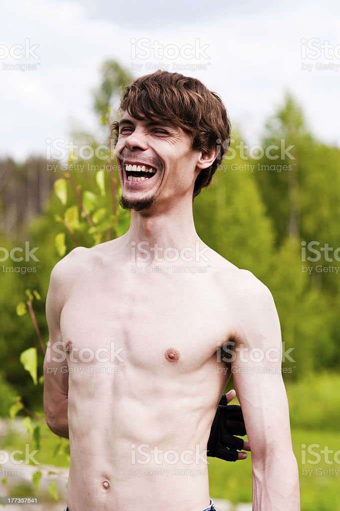 man laughs heartily royalty-free stock photo