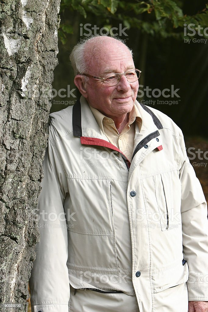 Man leaning against birch tree royalty-free stock photo