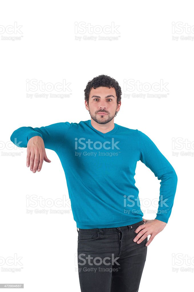Man leaning on an invisible object stock photo