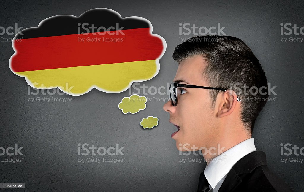 Man learn speaking german stock photo