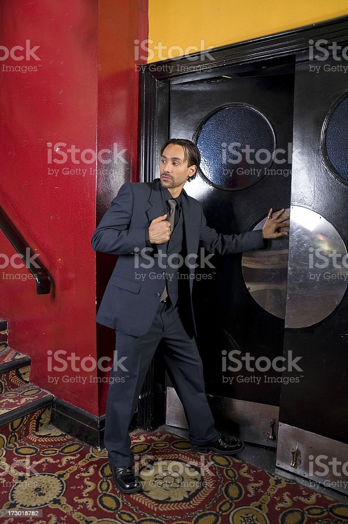 man leaving the Movies royalty-free stock photo