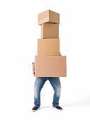 Man lifting boxes on white background