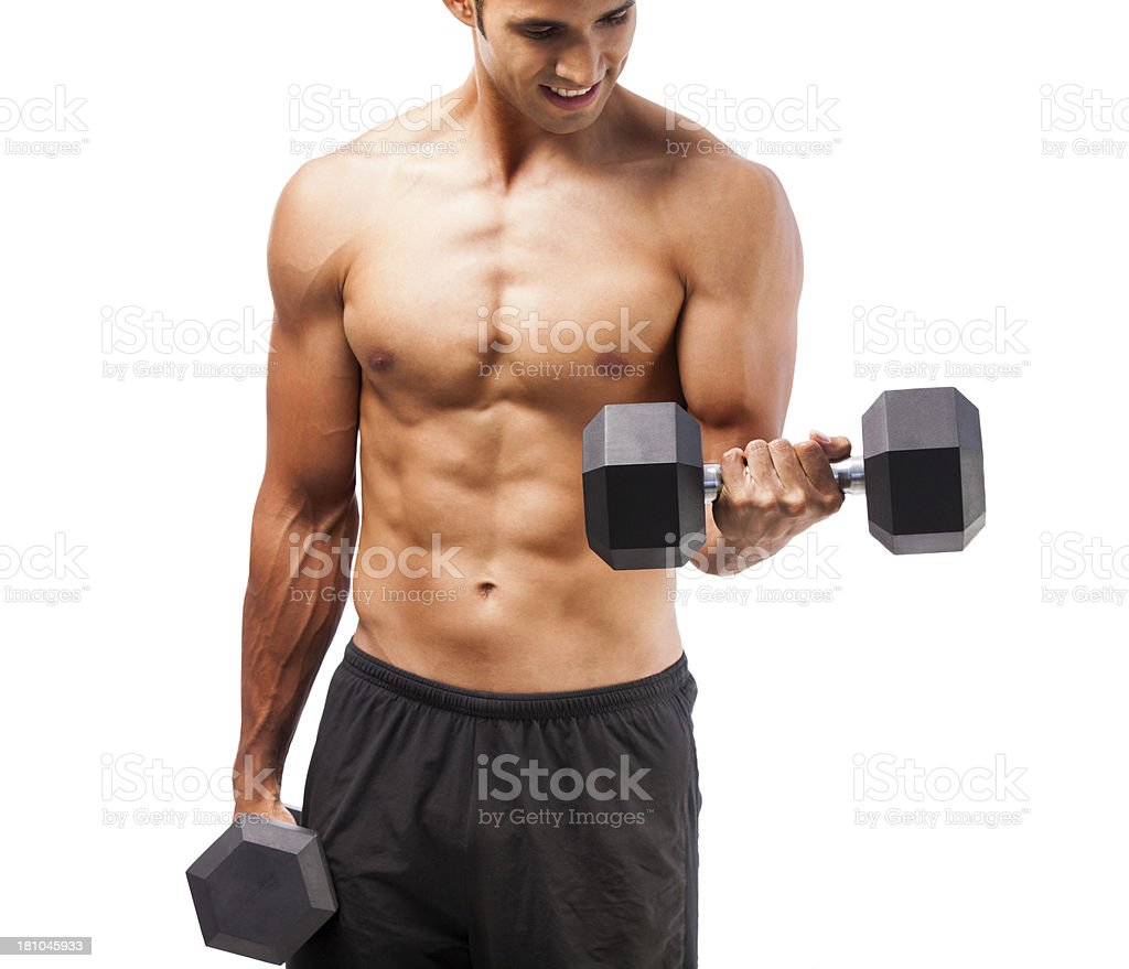 Man lifting weight royalty-free stock photo