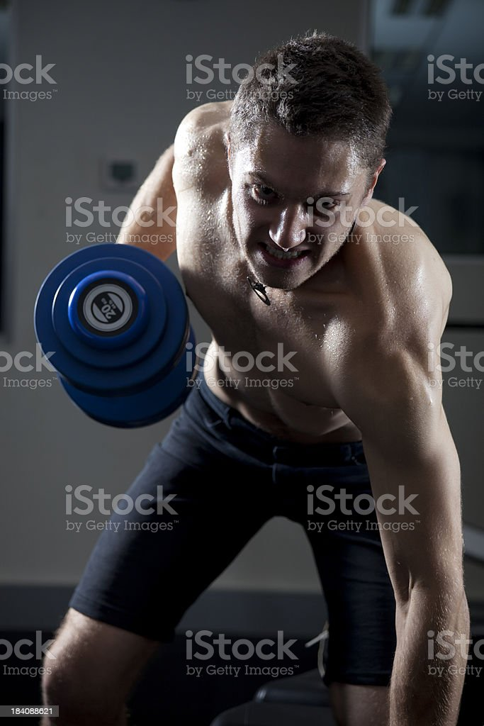 Man Lifting Weights in the Gym stock photo