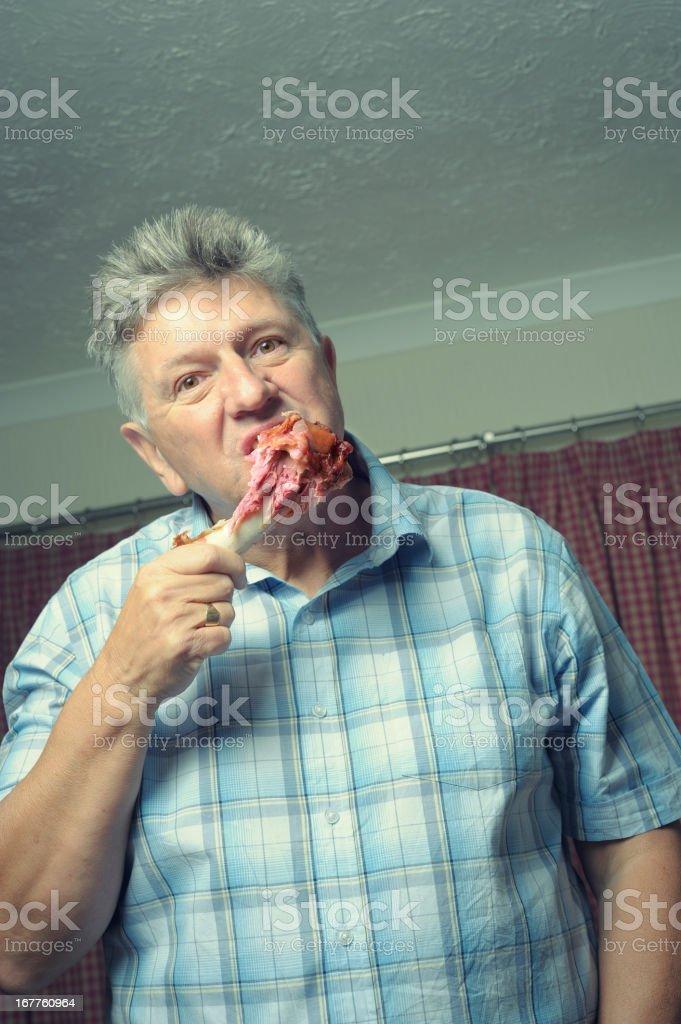 Man like a dog with his bone stock photo