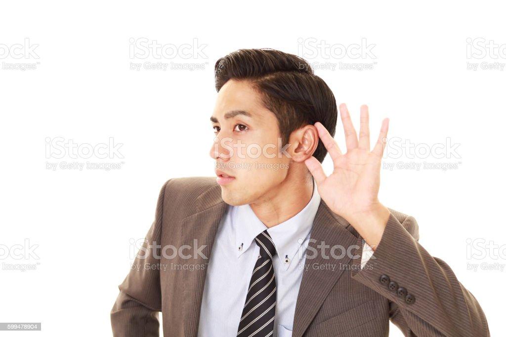 Man listen carefully stock photo