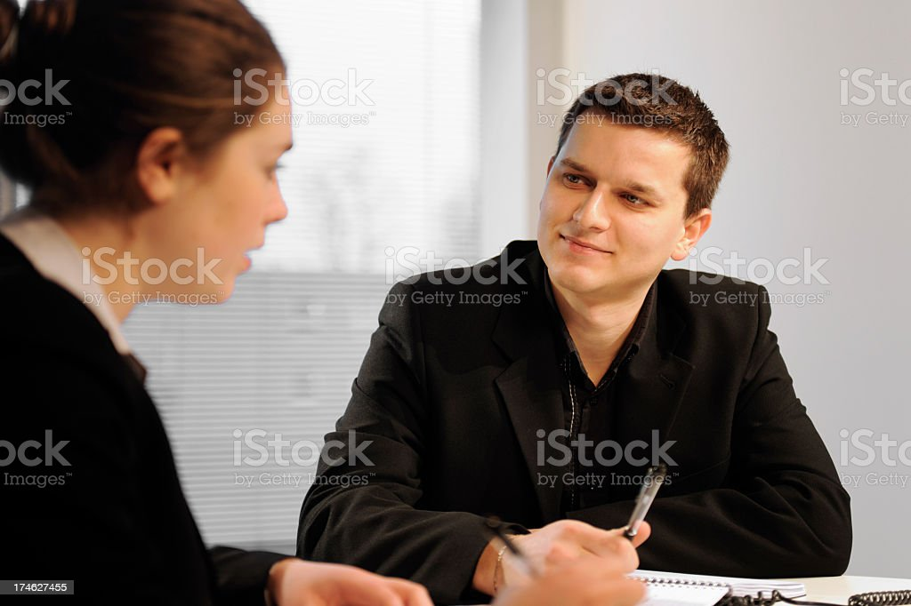 Man listening During Business Meeting royalty-free stock photo