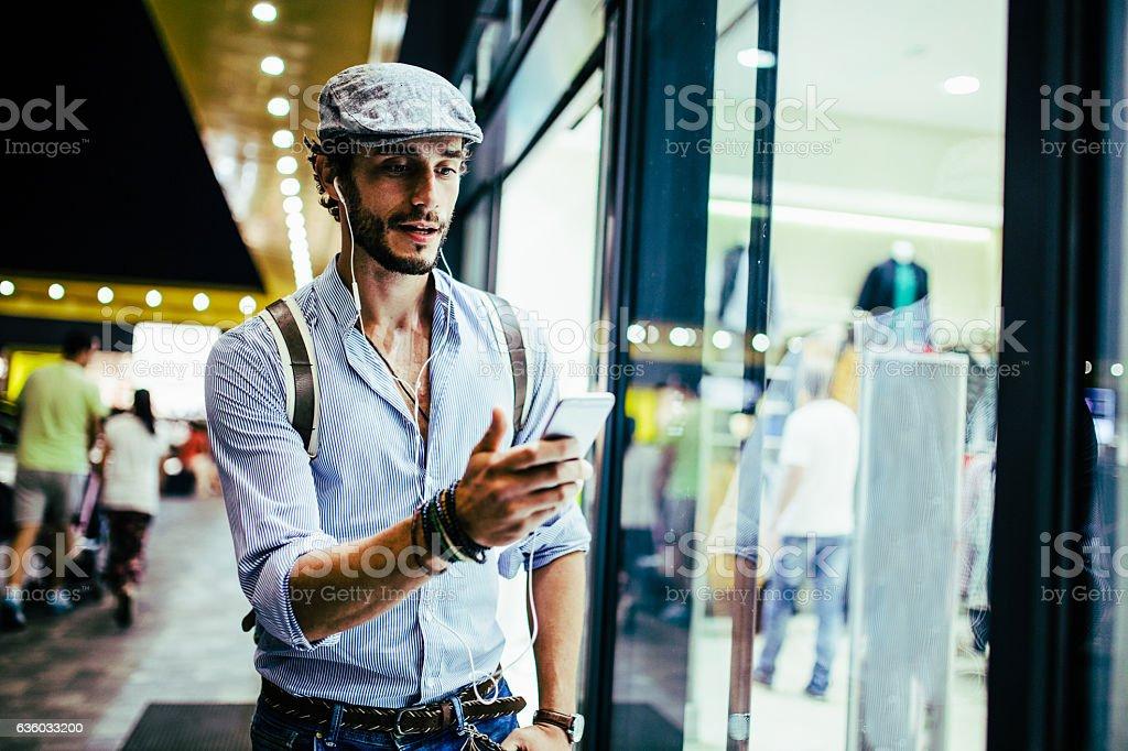 Man listening music stock photo