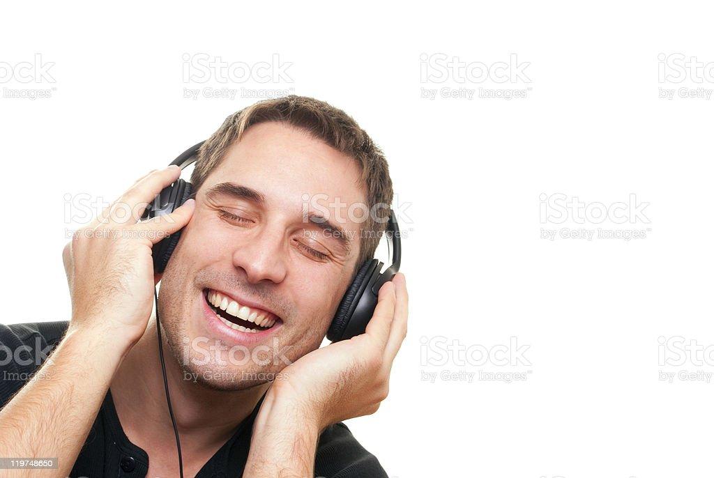 Man listening the music royalty-free stock photo