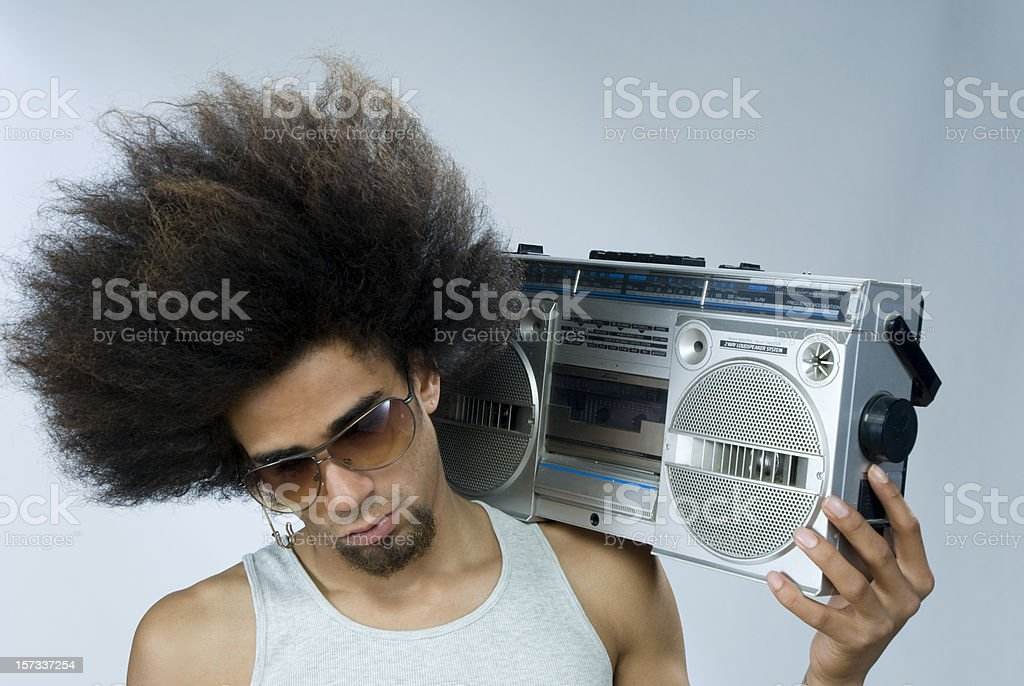man listening to funky music royalty-free stock photo