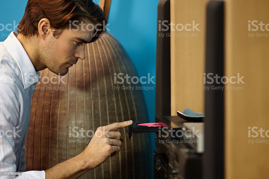 man listening to music with hi-fi royalty-free stock photo