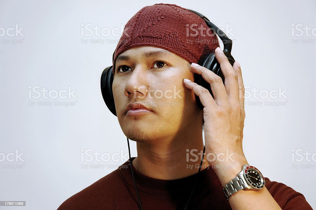Man listening to the music royalty-free stock photo