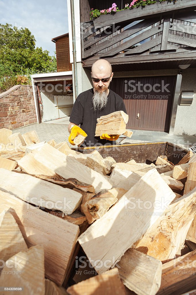 Man loading trailer with firewood stock photo