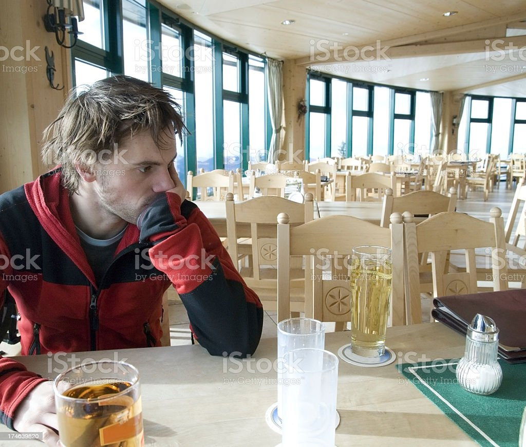 man lonley in the restaurant with date stock photo