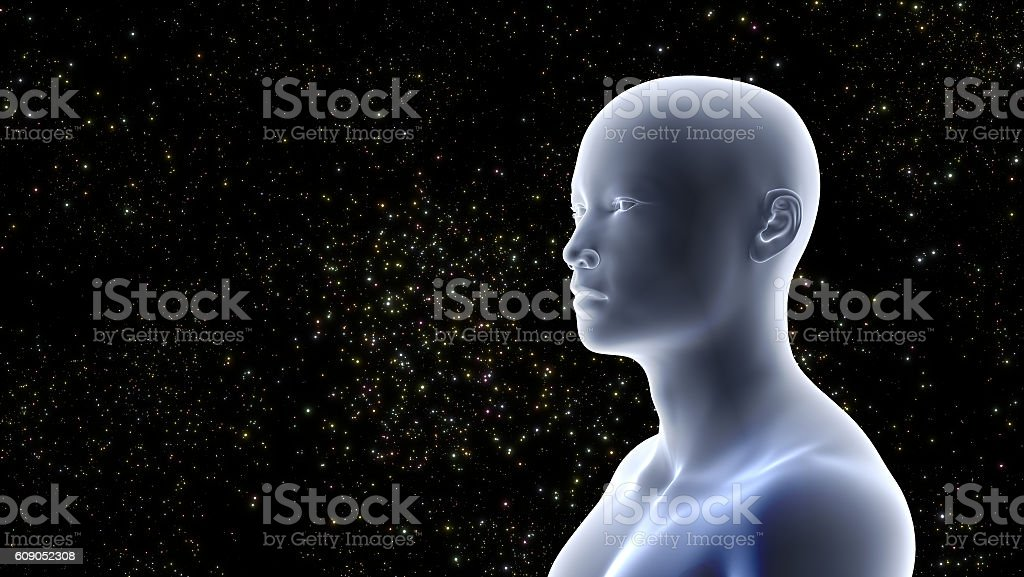 man looking at distant twinkling stars in a black sky stock photo