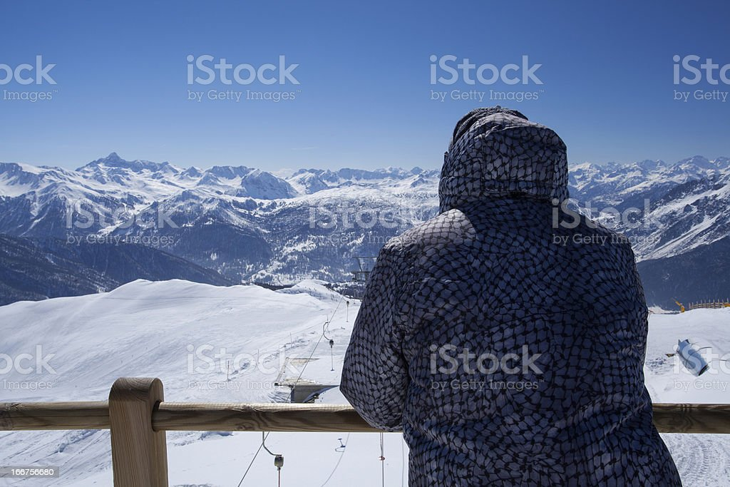 Man Looking at Mountains royalty-free stock photo