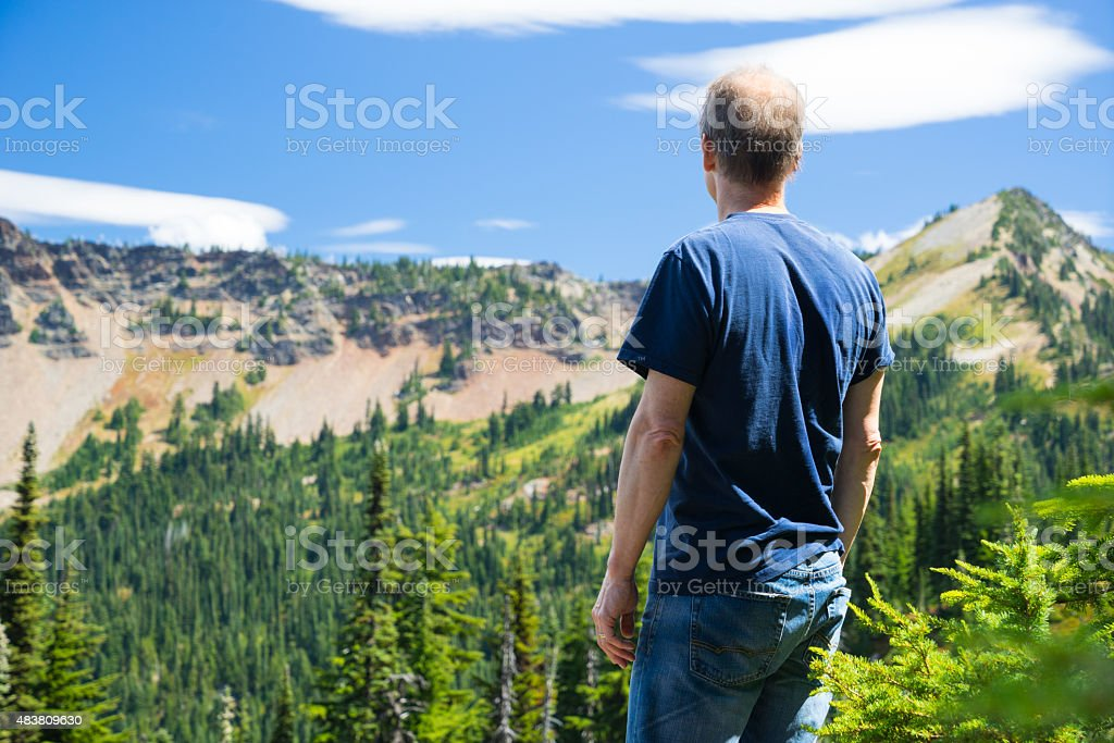 Man Looking At Mountains stock photo
