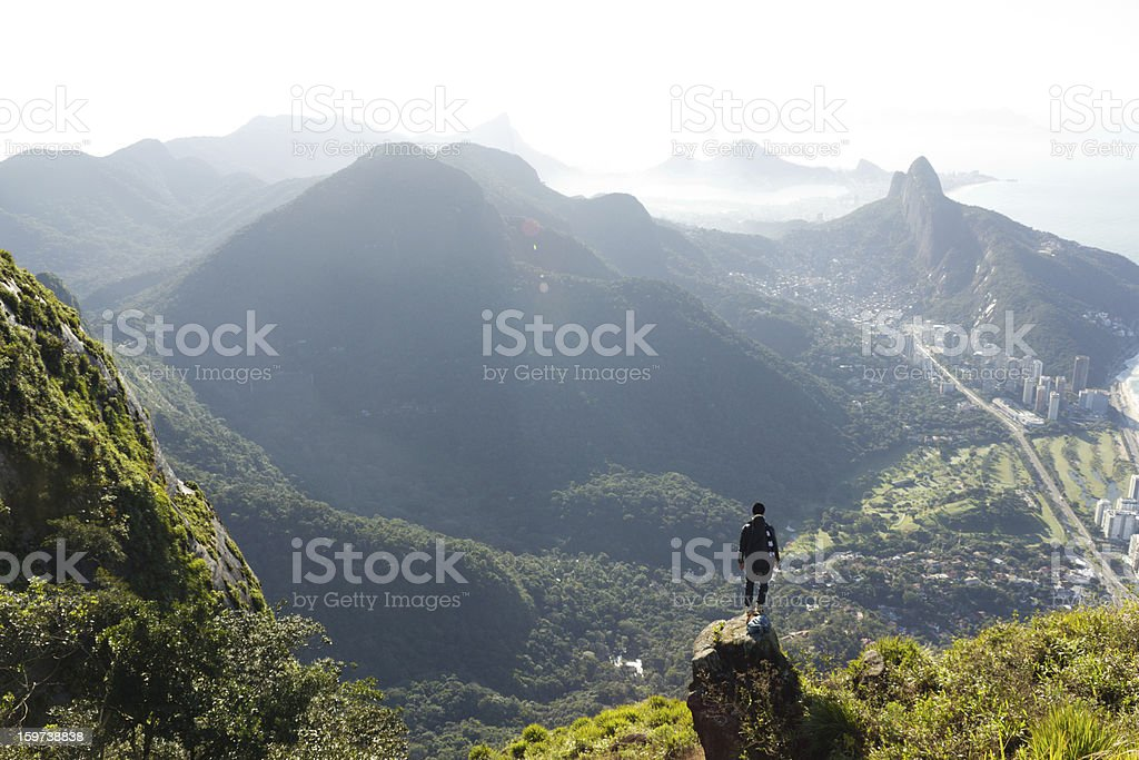 Man looking at Rio de Janeiro from above stock photo