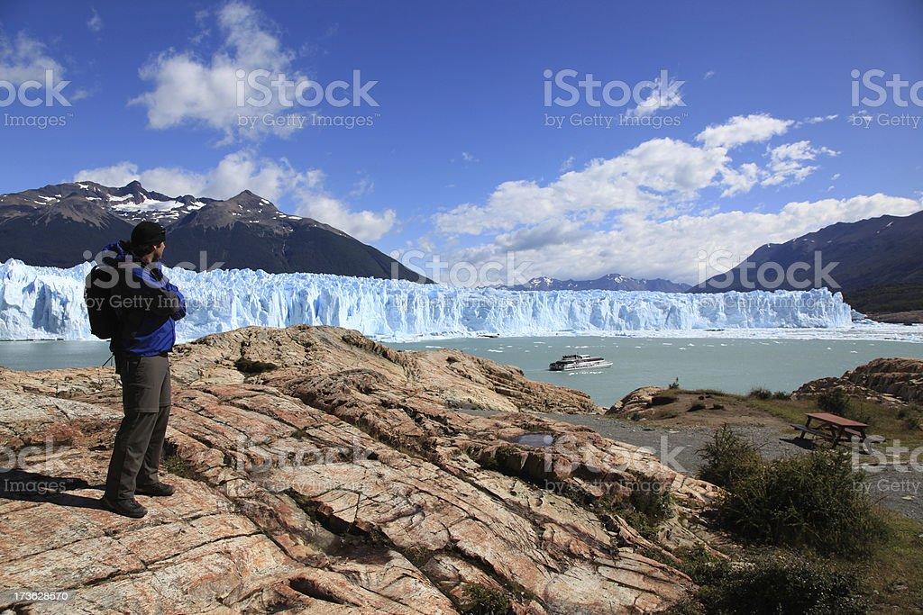 Man Looking at the Perito Moreno Glacier in Patagonia, Argentina royalty-free stock photo