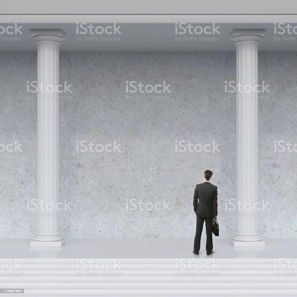 man looking at wall royalty-free stock photo