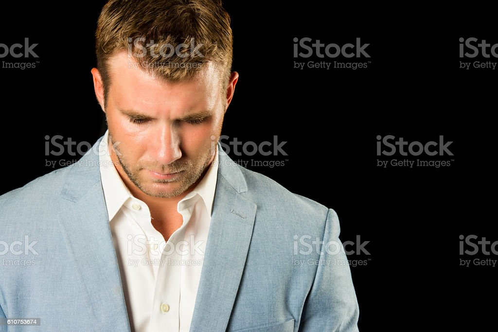 Man Looking Down stock photo