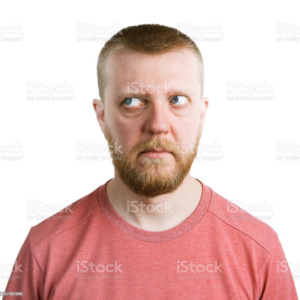 Man looking eyes away from himself stock photo
