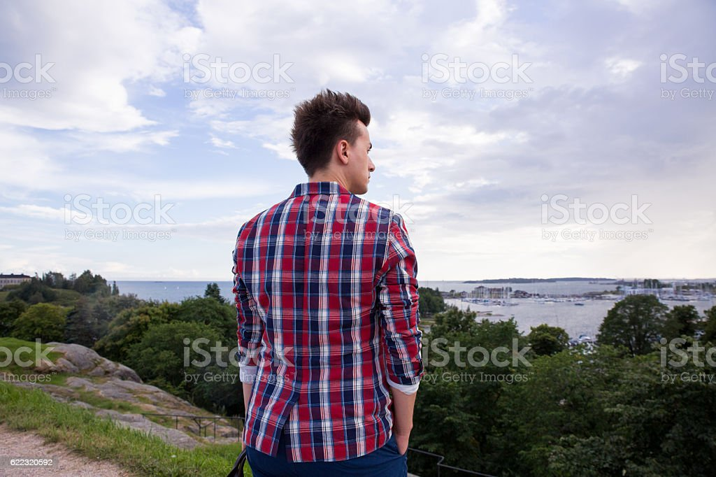 Man looking forward stock photo