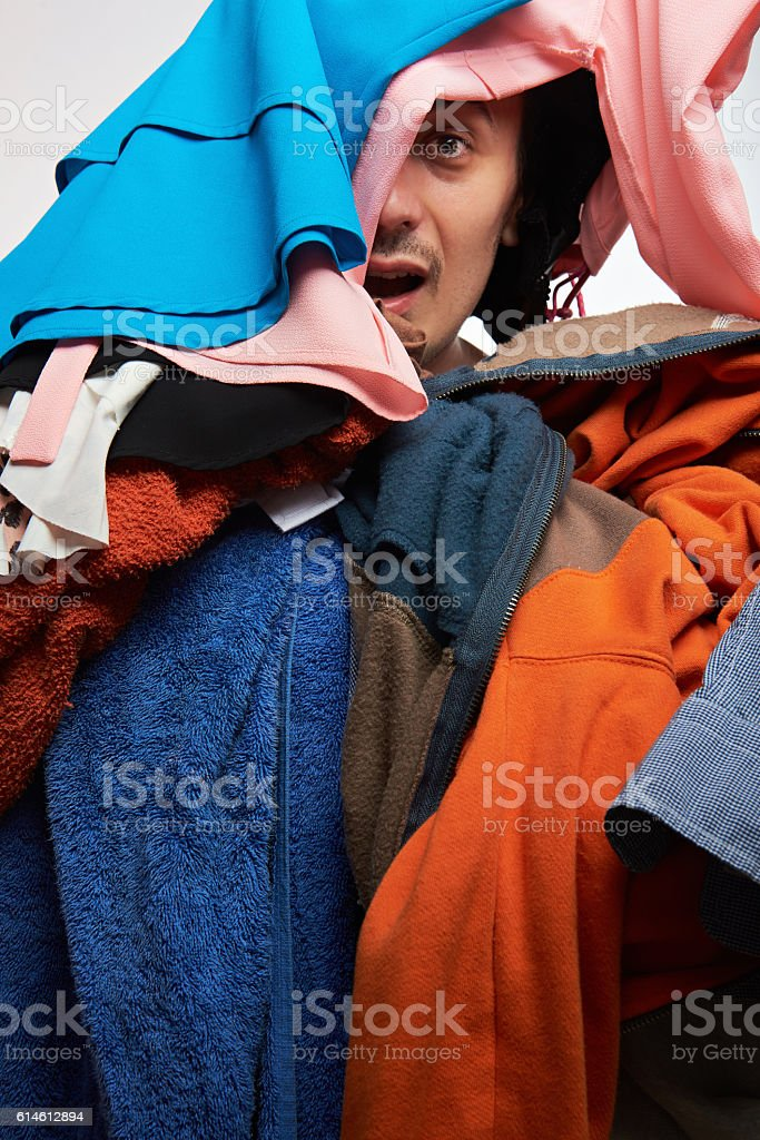 man looking from his clothing stock photo