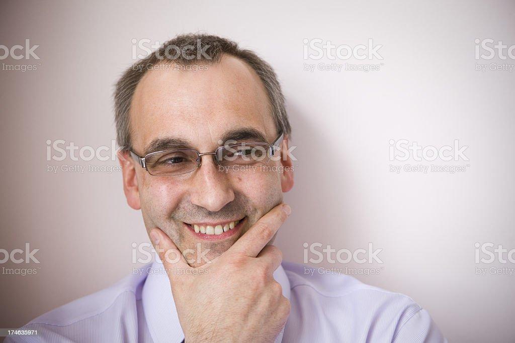 Man looking mischievous royalty-free stock photo