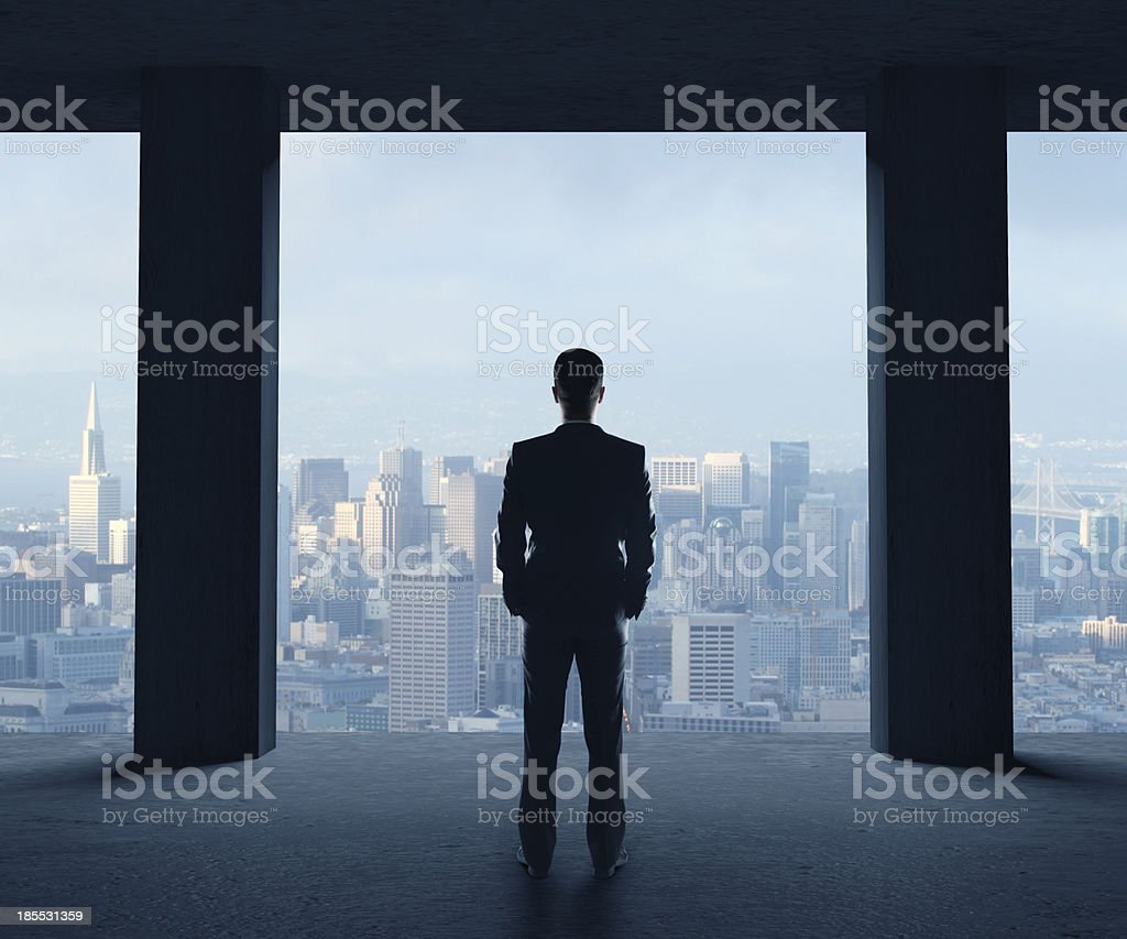 man looking of city royalty-free stock photo