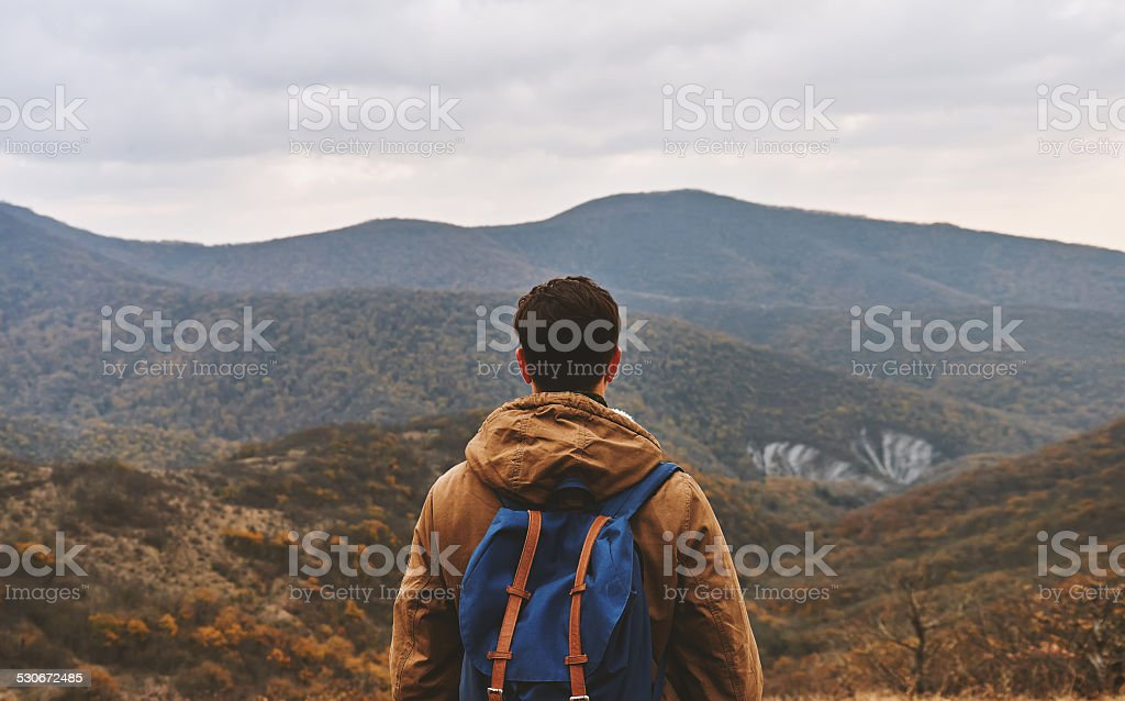 Man looking on mountains, rear view stock photo