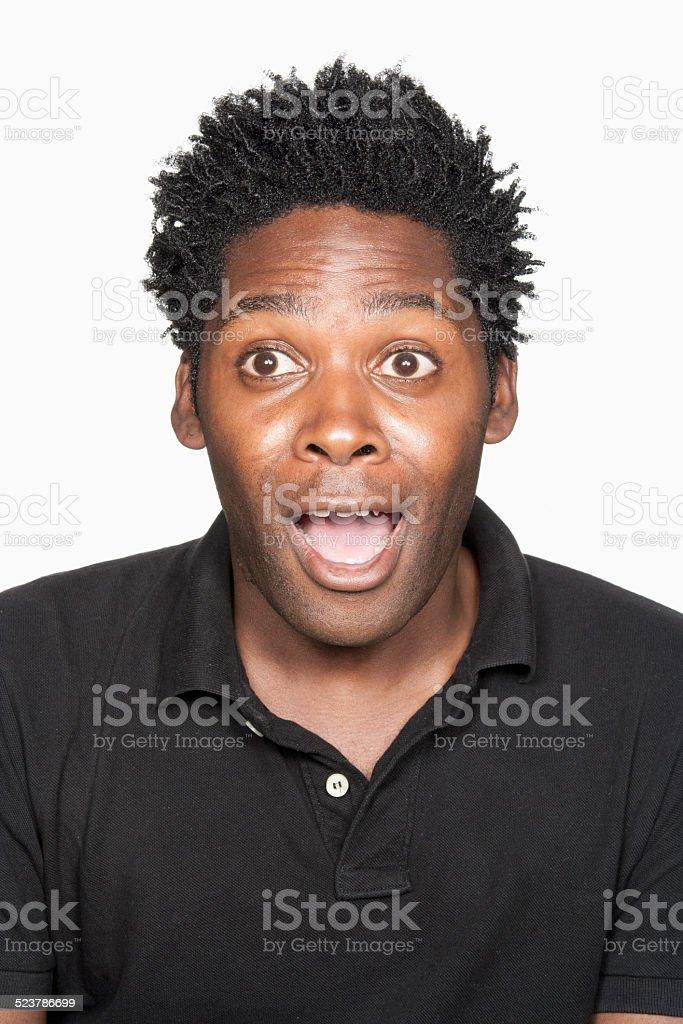 Man looking shocked stock photo