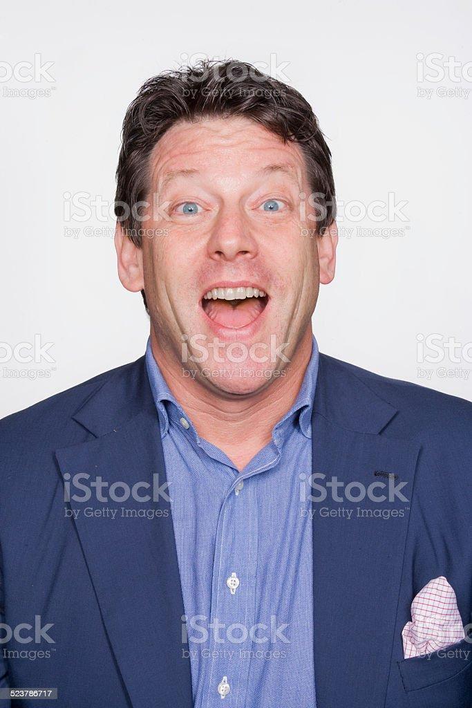 Man looking surprised stock photo