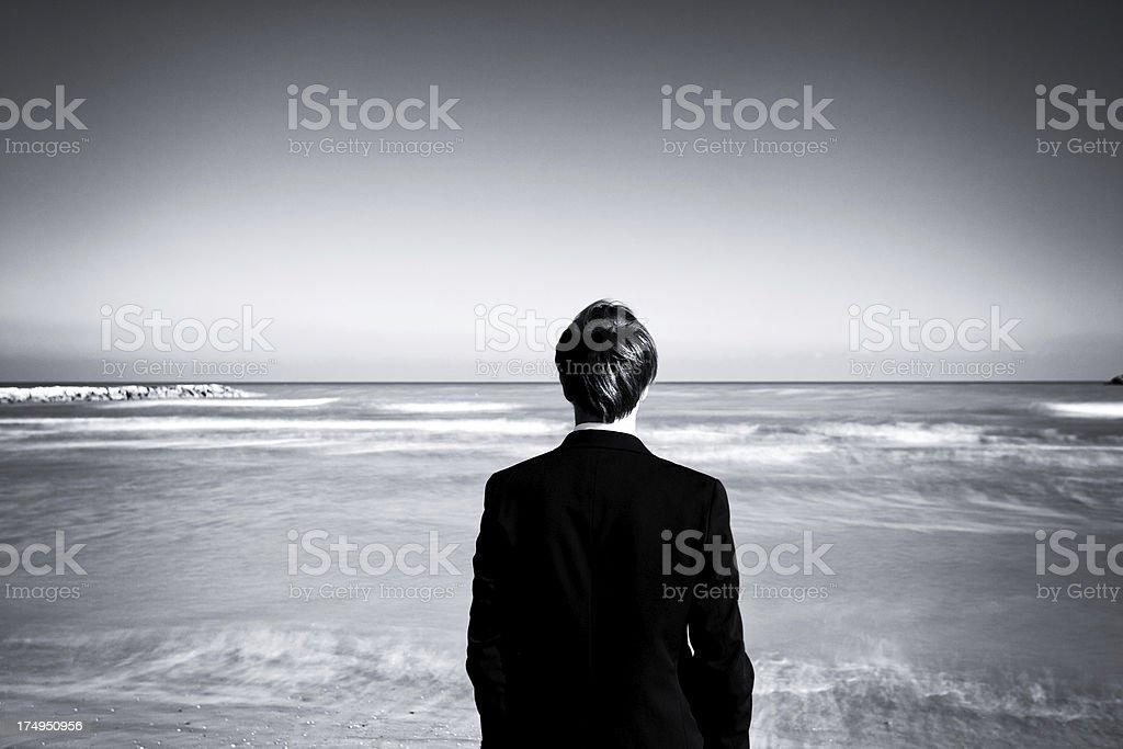 Man Looking the Horizon stock photo