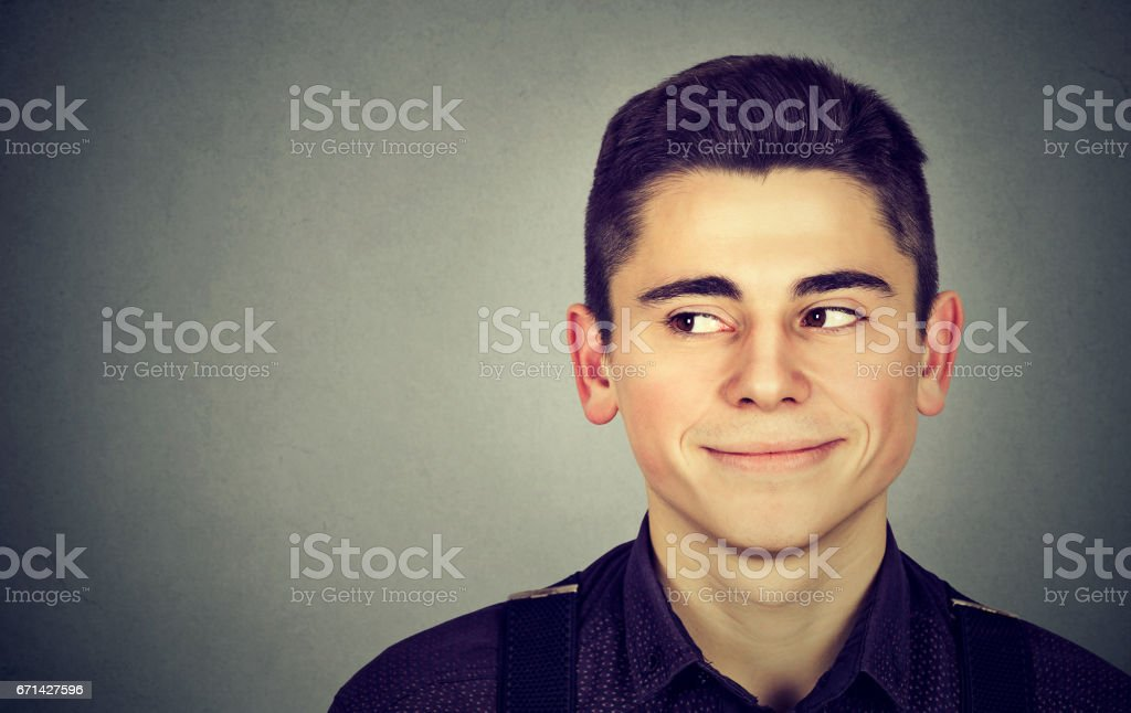 Man looking to the left likes something stock photo
