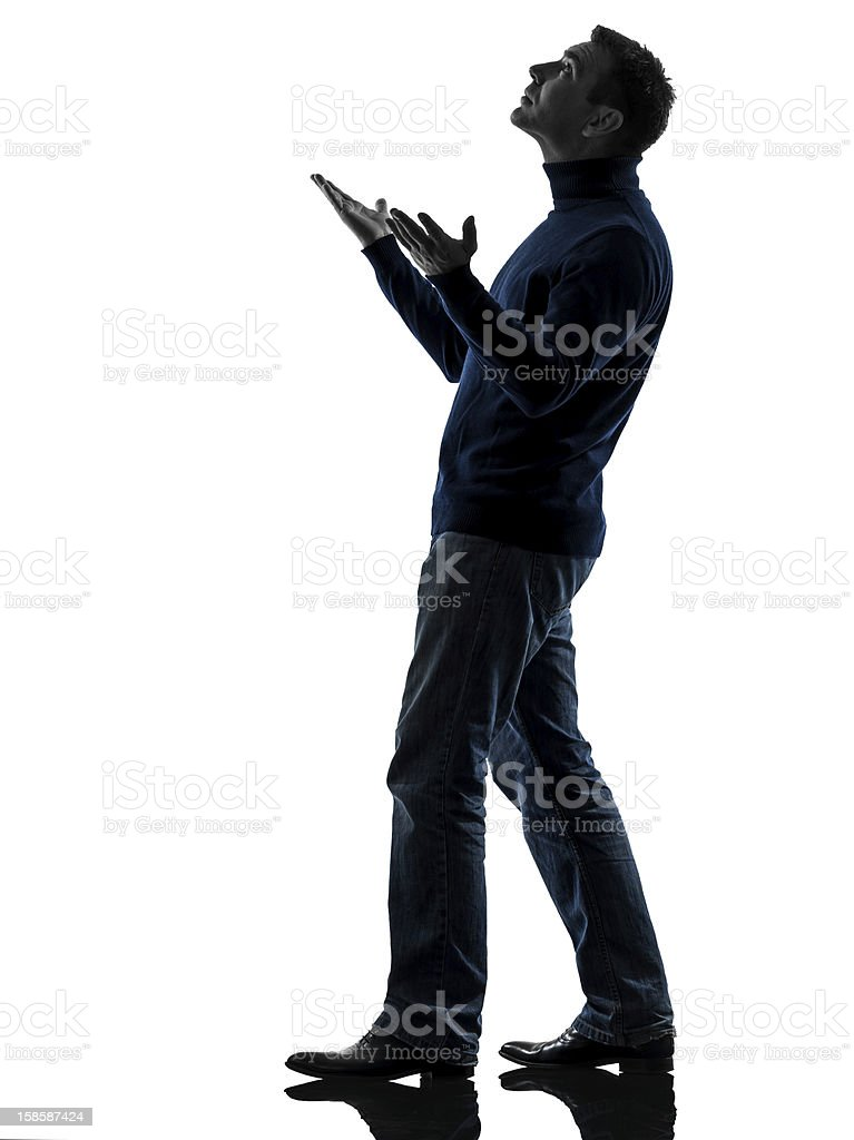 man looking up happy silhouette full length stock photo
