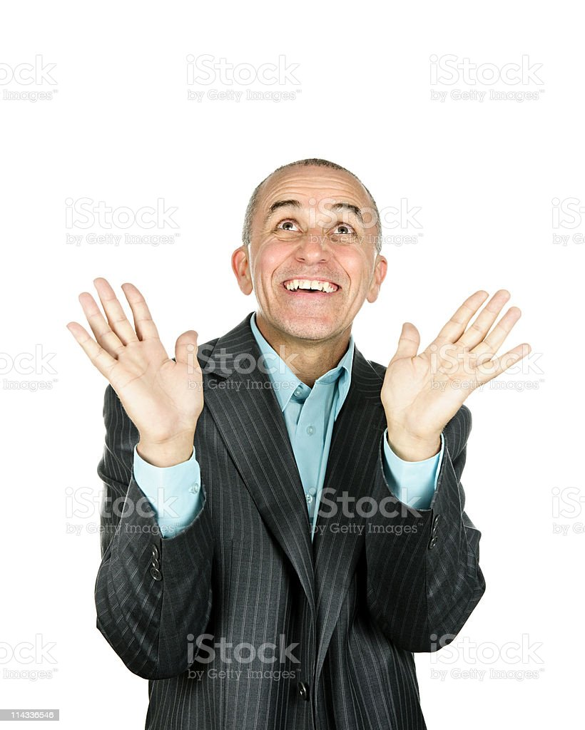 Man looking up in amazement stock photo