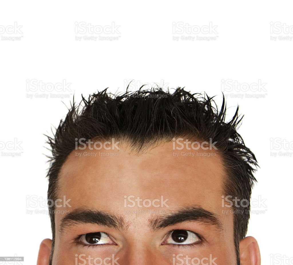 Man looking up   isolated (medium) royalty-free stock photo