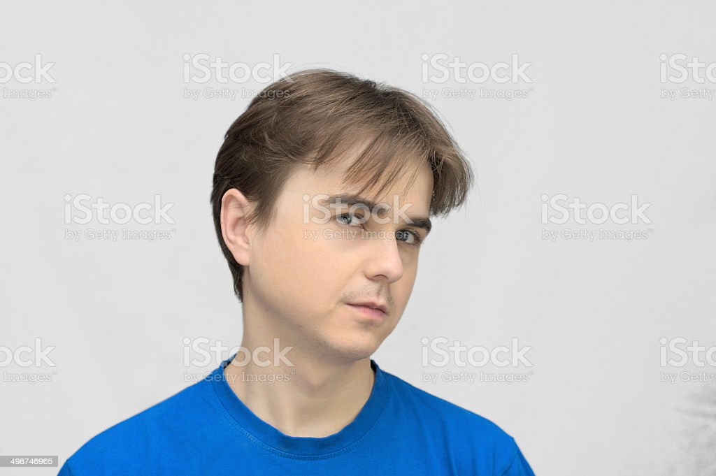 Man looking up with smile stock photo