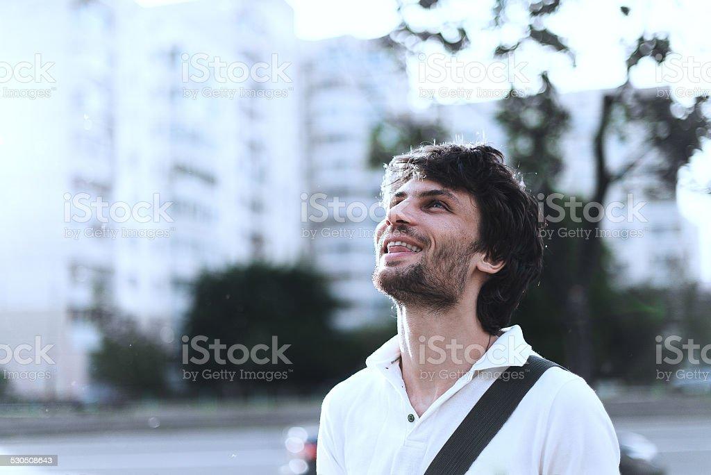 Man looks up royalty-free stock photo