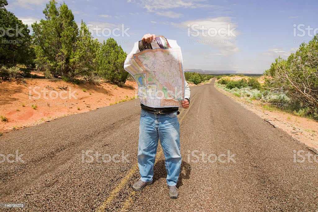 Man lost in the desert royalty-free stock photo