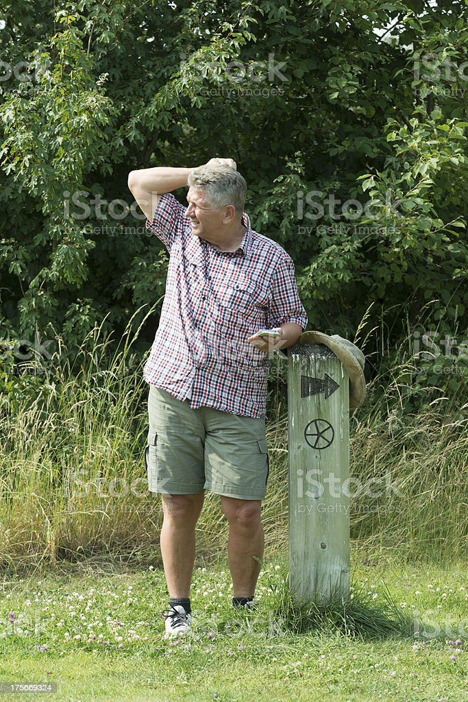 Man lost while out walking royalty-free stock photo