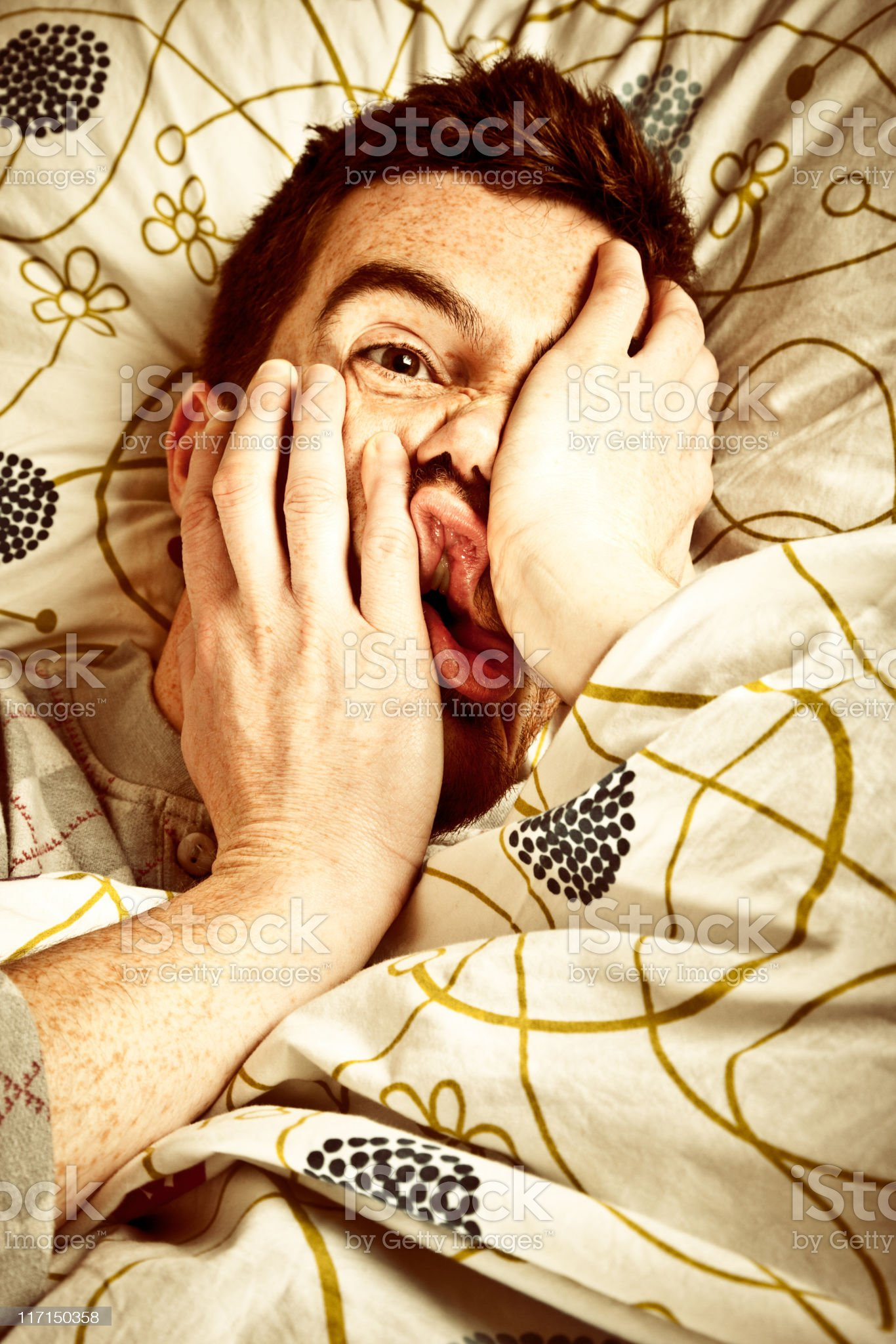 Man Lying In Bed royalty-free stock photo