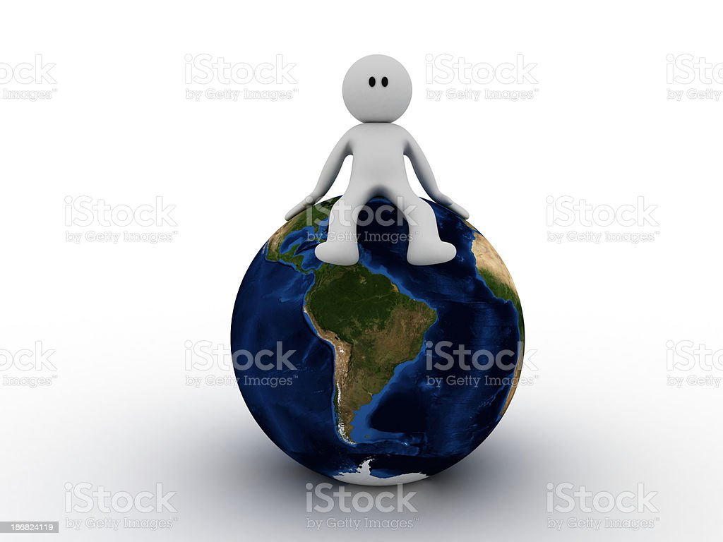 Man lying on earth stock photo