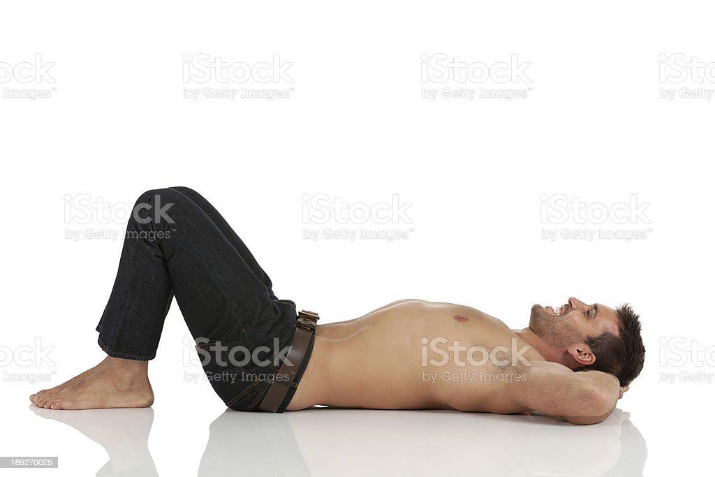 Man lying on the floor royalty-free stock photo