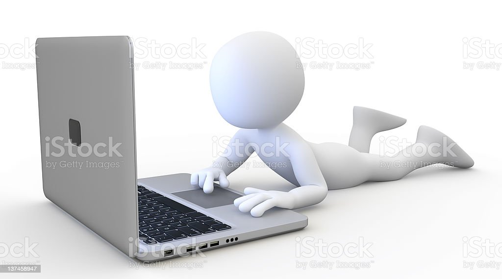 Man lying with a laptop royalty-free stock photo