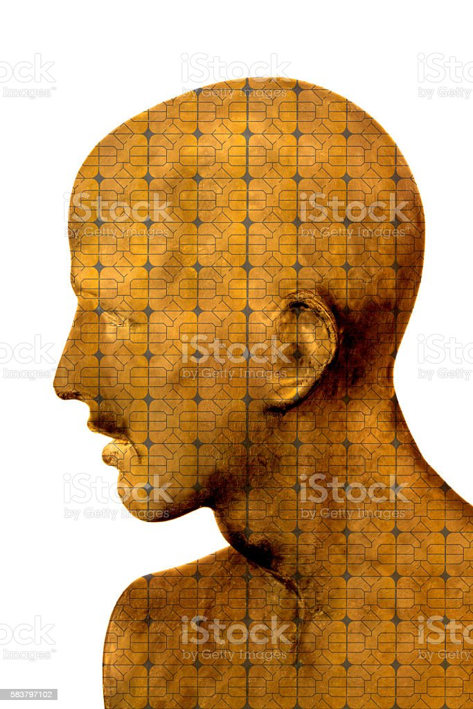 Man Made of Computer Ship stock photo