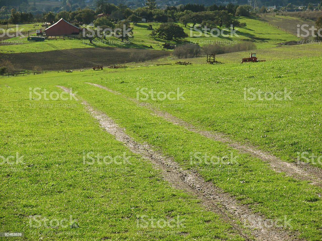 Man Made Tracks to an Old Barn royalty-free stock photo